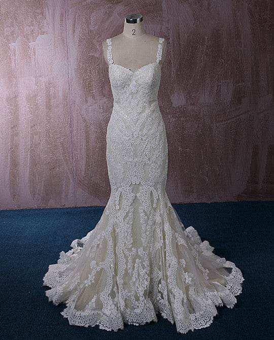 Champagne Lace Mermaid Wedding Dress with Floral Lace Straps | QT815008