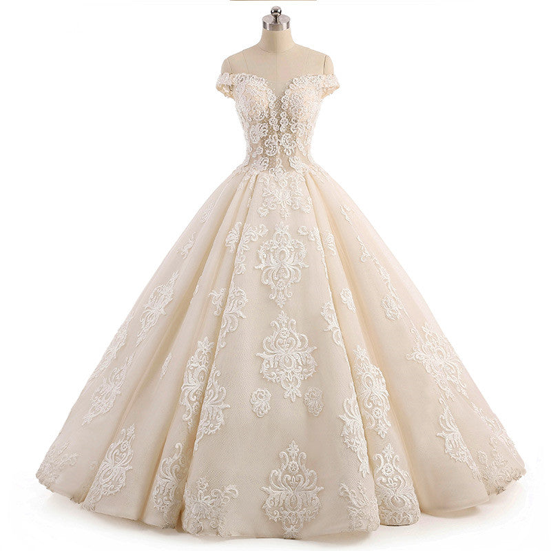 Champagne Lace Ball Gown Wedding Dress AL3014