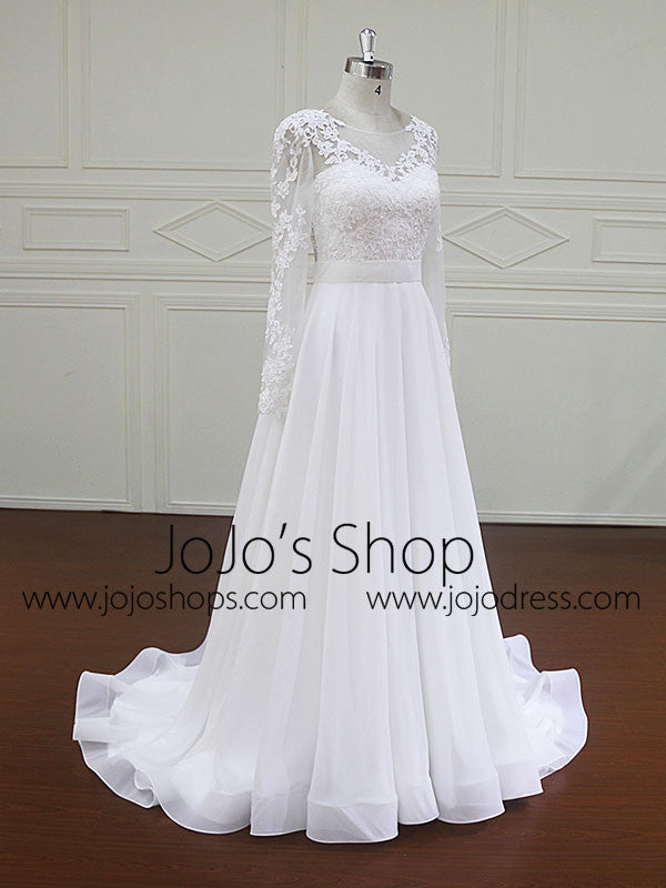 Long Sleeves Lace Wedding Dress with Chiffon Skirt | BB004