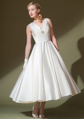 Retro 50s Tea Length V Neck Satin Wedding Dress