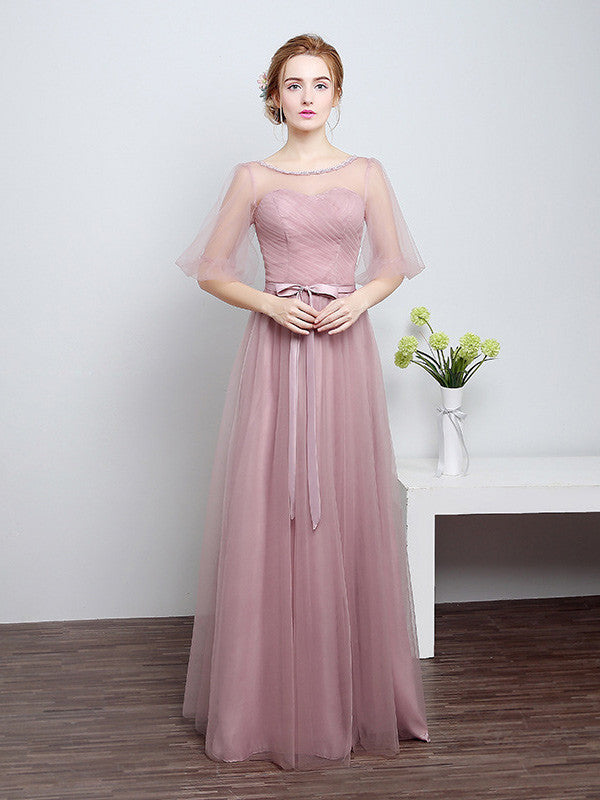 Soft Tulle Bridesmaid Dress with Sleeves