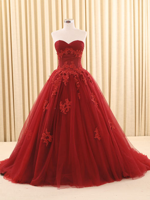 Dark Red Ball Gown Lace Wedding Dress | RS6805 Red – JoJo Shop