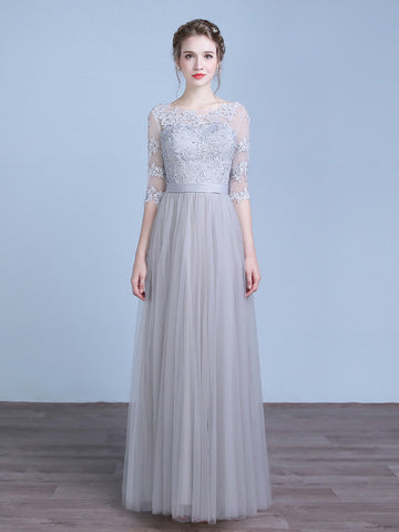 Gray Floor Length Lace Bridesmaid Dress