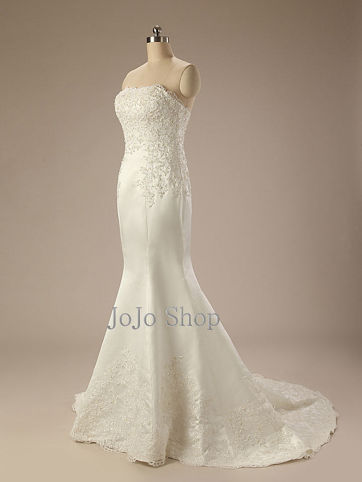 Strapless Mermaid Lace Wedding Dress