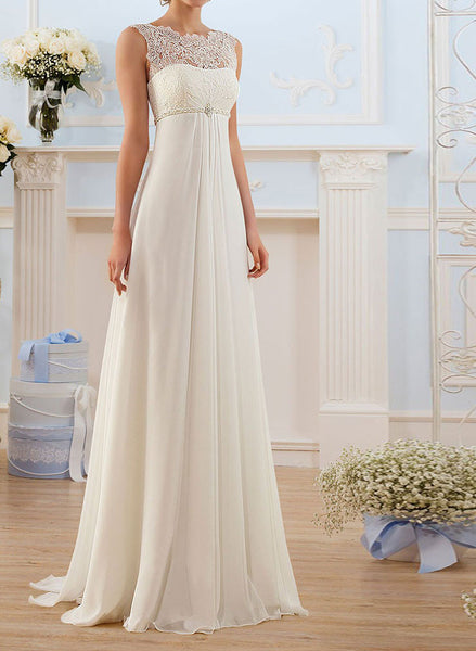 Empire Chiffon Wedding Dress with Chantilly Lace Bodice | BB002
