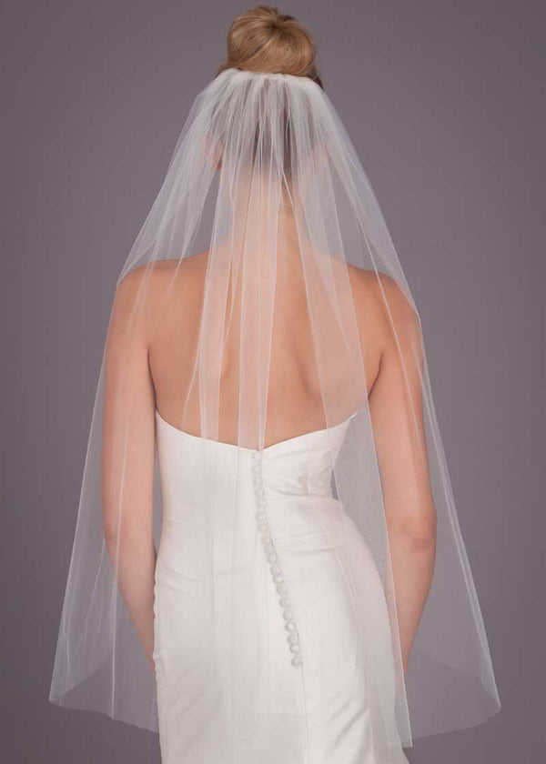 Plain Tulle Short One Finger Tip Wedding Veil