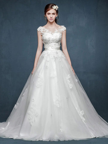 Whimsical Floral Lace A-line Wedding Dress with Cap sleeves