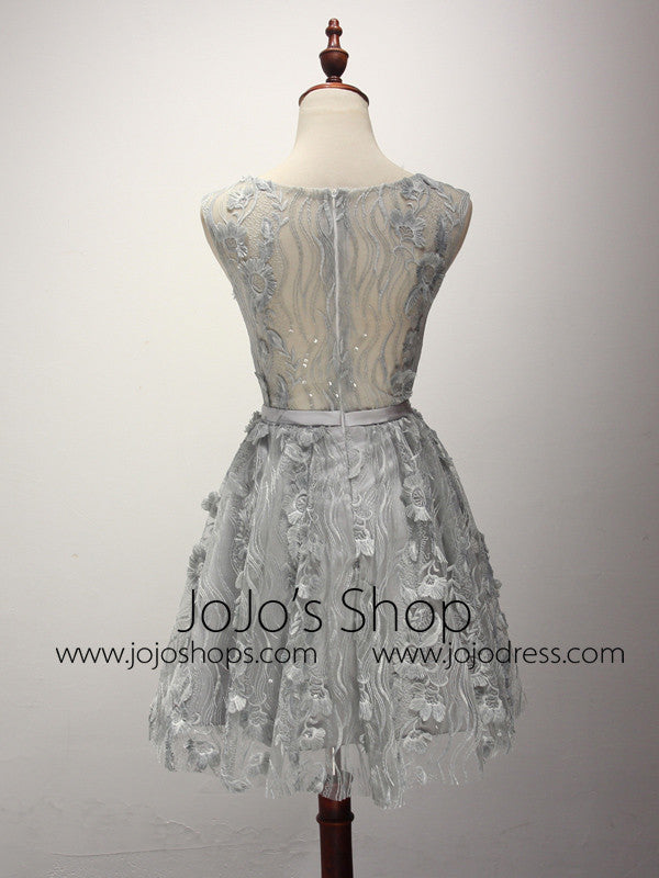 Gray Short Lace Bridesmaid Dress