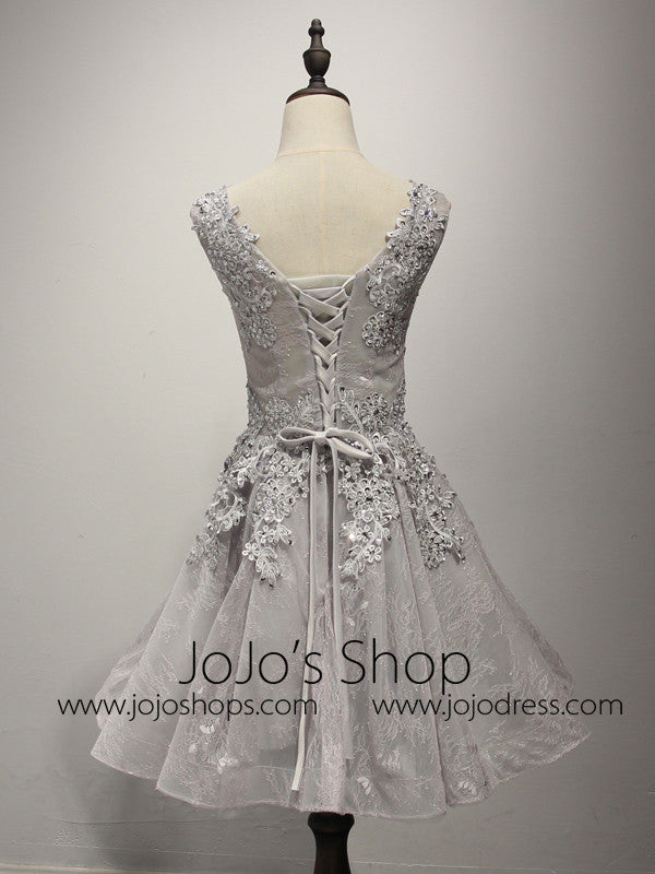 Gray Lace Short Bridesmaid Dress with Beadings