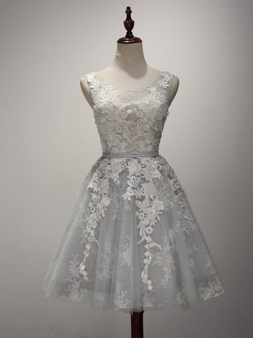 Short Gray Lace Reception Dress