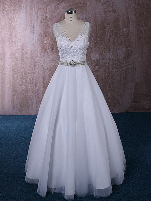 V Neck A-line Wedding Dress with Lace and Crystal Sash | QT815007A