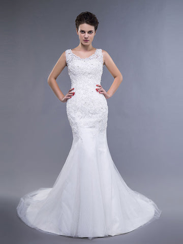 mermaid and fit and flare wedding dresses