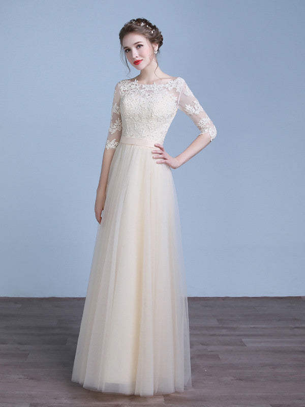 Champagne lace tulle bridesmaid dress with sleeves jojo shop champagne lace tulle bridesmaid dress with sleeves junglespirit Gallery