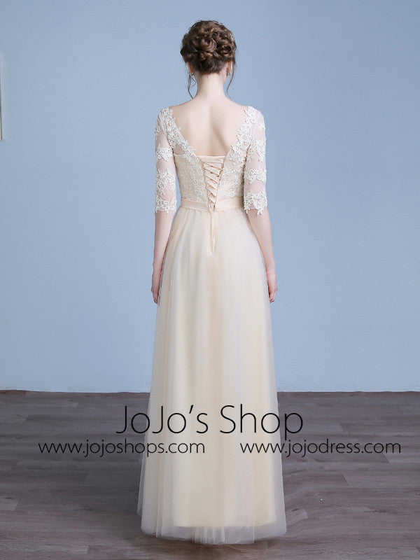 Champagne Lace Tulle Bridesmaid Dress with Sleeves