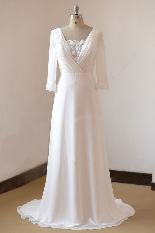 Vintage Boho Style Long Sleeves Chiffon Wedding Dress | EE3006