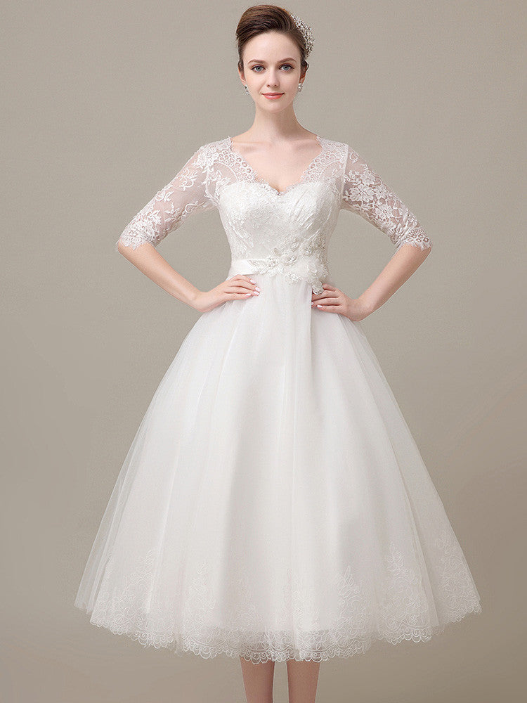 Retro Tea Length Lace Wedding Dress with Long Sleeves
