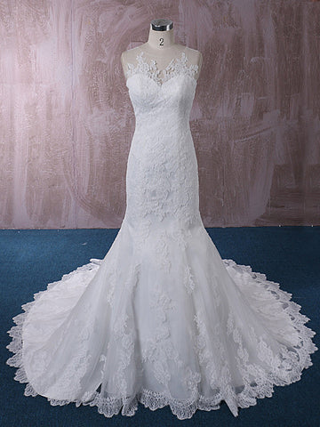 Lace Mermaid Wedding Dress with Illusion Neckline | QT815015