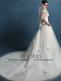Elegant A-line Wedding Dress with Off Shoulder Cap Sleeves | LW2003