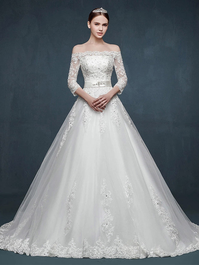 Off Shoulder Long Sleeves A-line Lace Wedding Dress – JoJo Shop