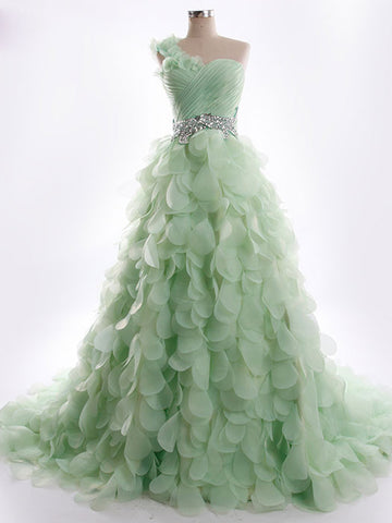 Green One Shoulder Wedding Dress with Organza Petal Skirt | RS5003