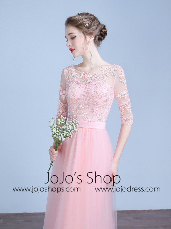 Pink Lace Bridesmaid Dress with Sleeves