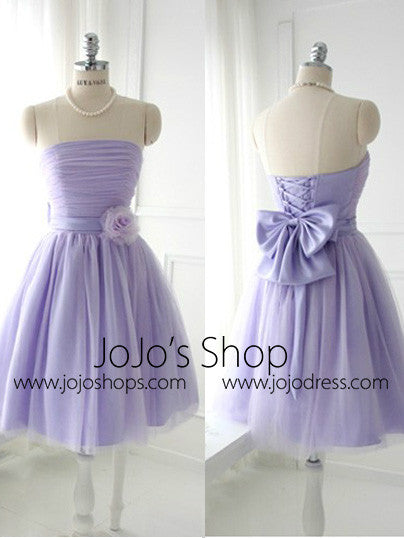 Purple Short Strapless Tulle Bridesmaid Dress