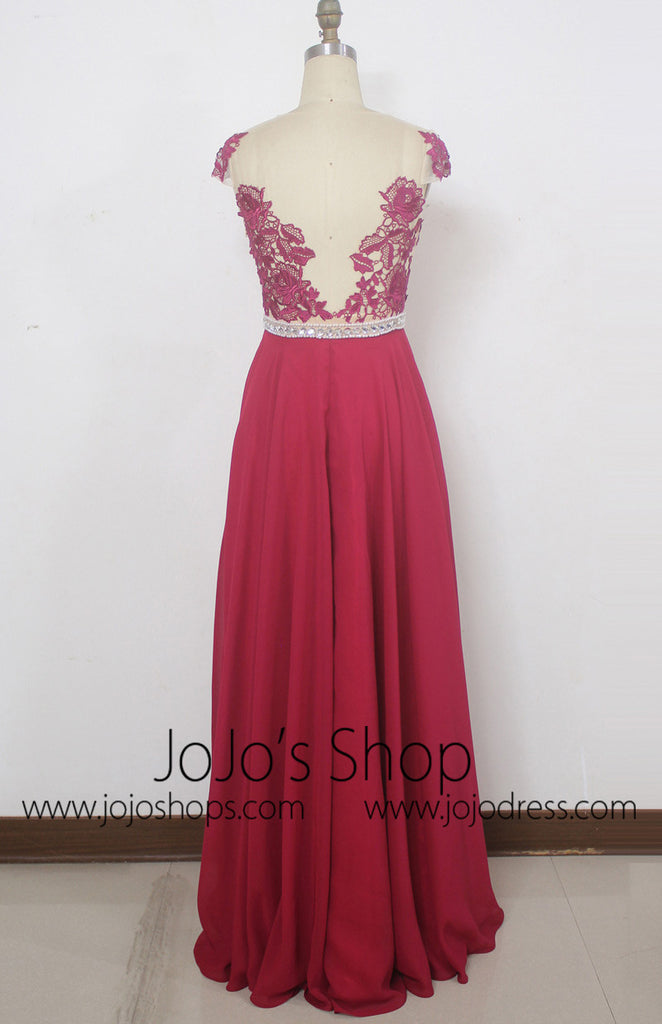 Long Lace Bridesmaid Dress with Cap Sleeves