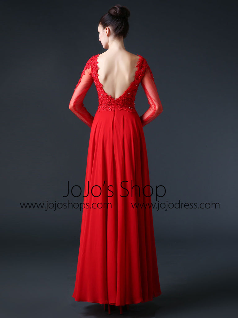 Red Open Back Lace Wedding Dress | CC3003