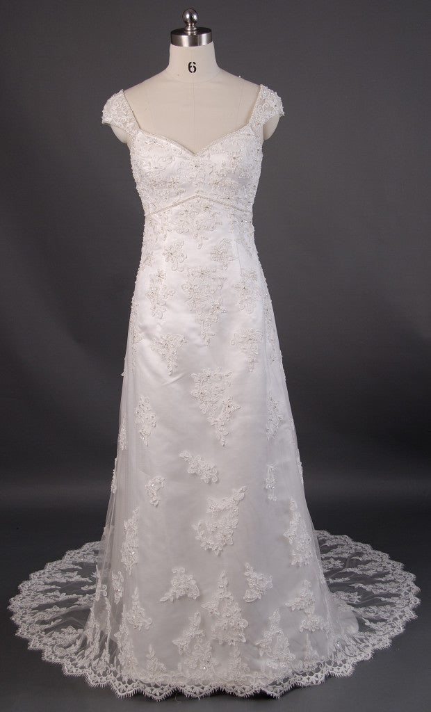 Retro 1920s Regency Style Lace Empire Wedding Dress with Cap
