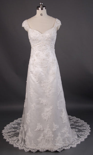 Retro 1920s regency style lace empire wedding dress with for Empire style wedding dress