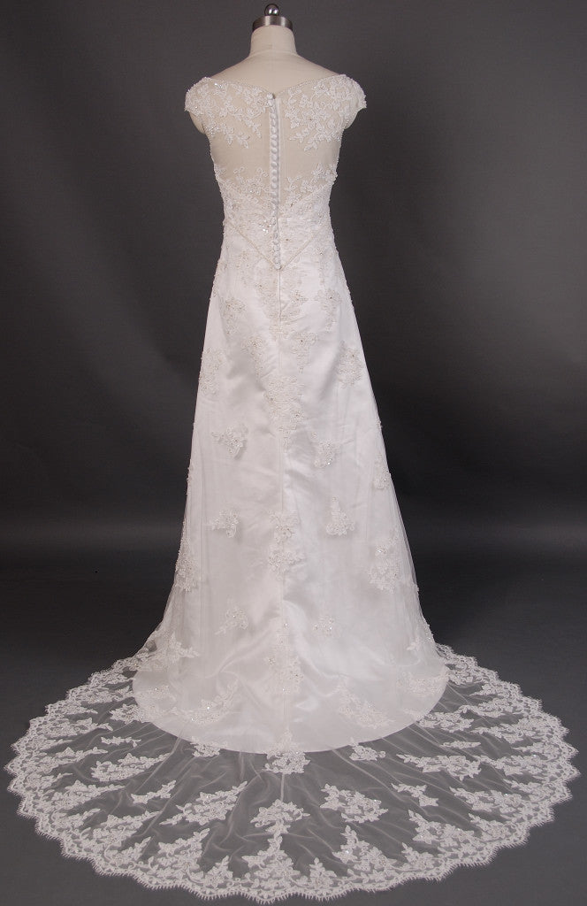 Retro 1920s Regency Style Lace Empire Wedding Dress with Cap Sleeves