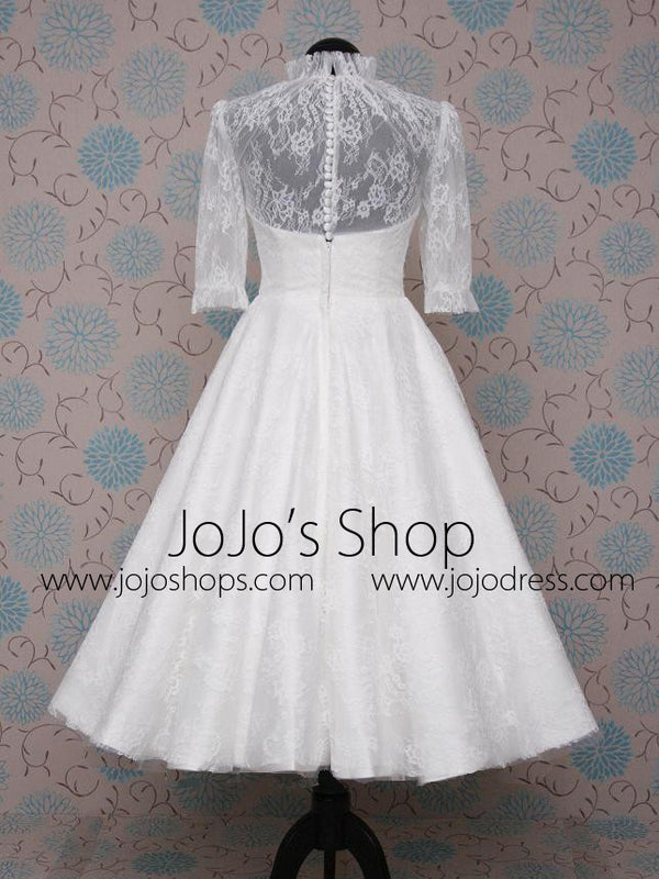 Modest Tea Length Lace Wedding Dress with Sleeves