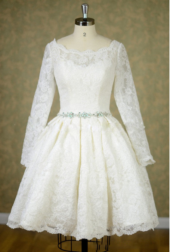 Short Knee Length Lace Long Sleeves Wedding Dress With Jeweled Belt