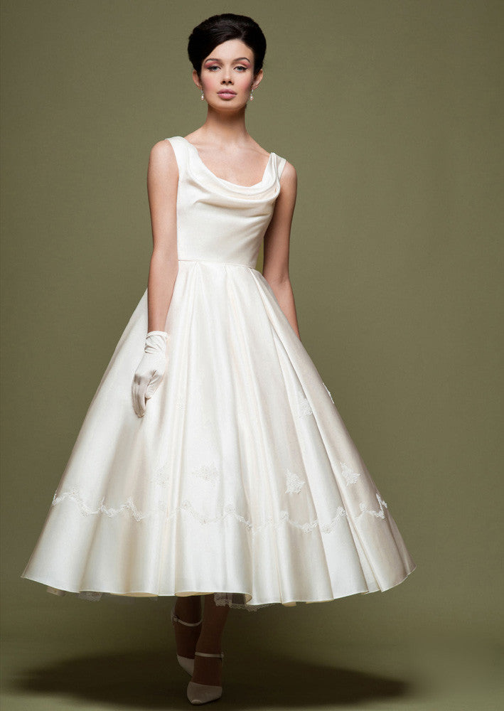 Retro Tea Length Wedding Dress with Cowl Neck