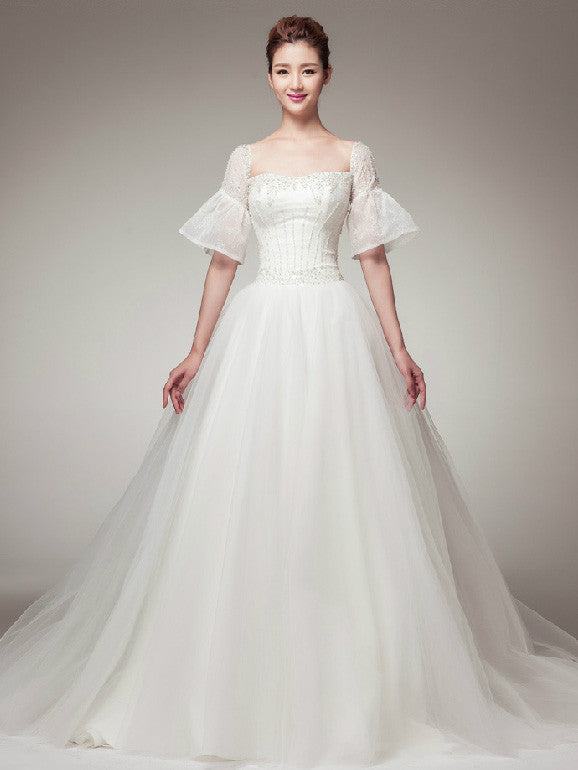 Edwardian Vintage Princess Style Wedding Dress with Sleeves