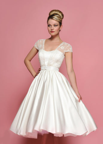 Retro 50s 60s Tea length Cap Sleeves Lace Wedding Dress