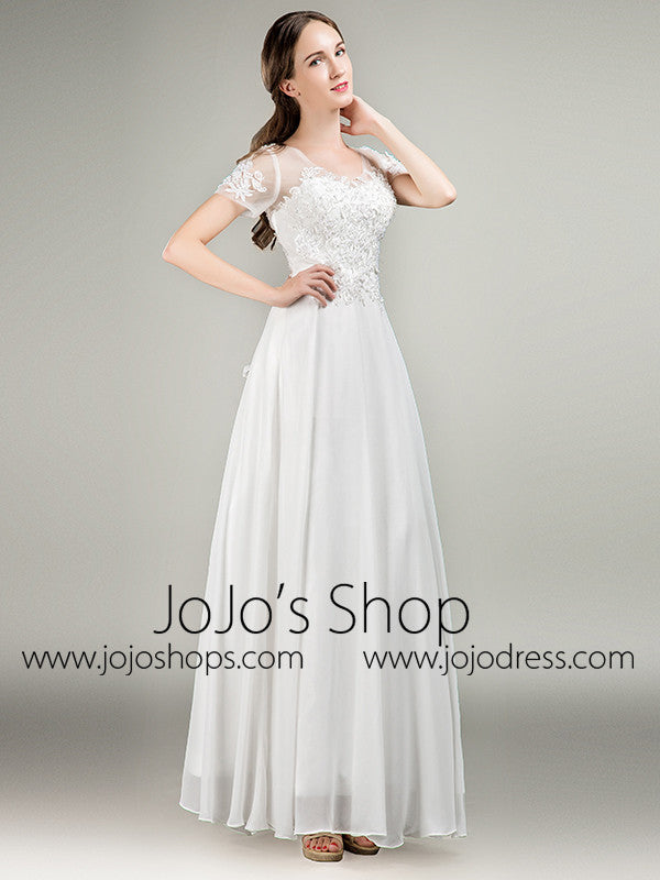 Simple Short Sleeves Lace Chiffon Wedding Dress