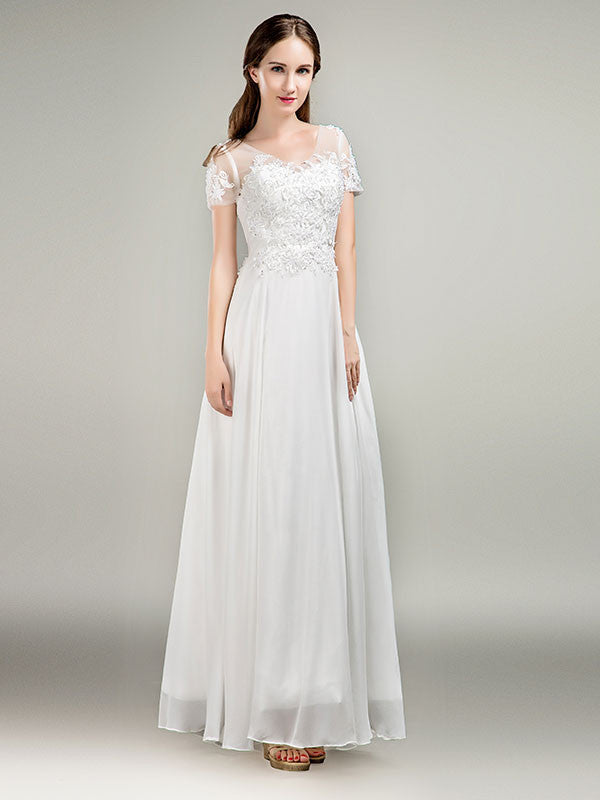 Simple Short Sleeves Lace Chiffon Wedding Dress – JoJo Shop