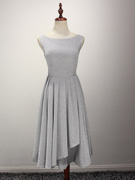 Grey Short Bridesmaid Dress