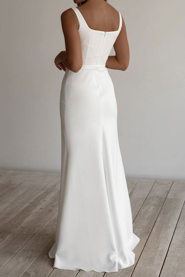 Simple Crepe Chiffon Wedding Dress with Square Neckline ET3002