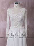 Chiffon Lace Wedding Dress with Long Sleeves | QT815010