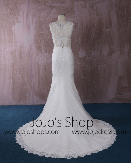 Slim Mermaid Lace Wedding Dress with Illusion Neckline | QT815002