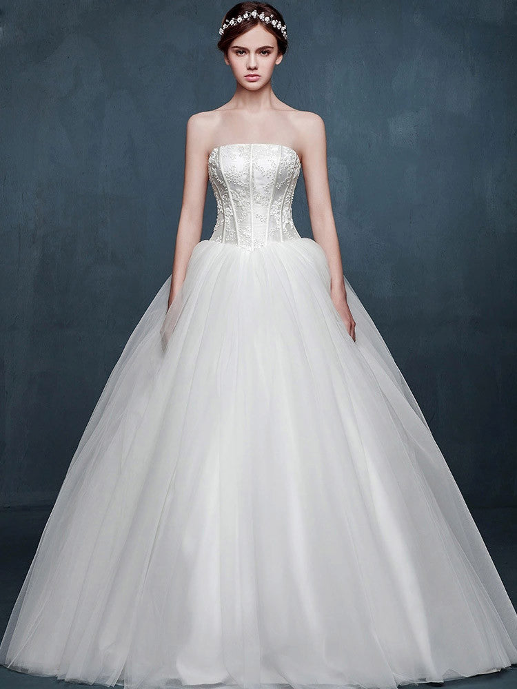 Timeless Strapless Princess Ball Gown Wedding Dress