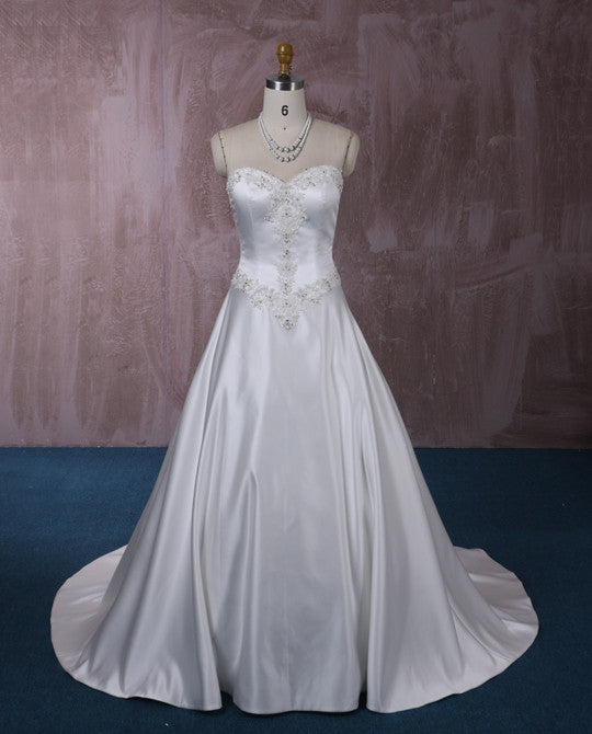 Strapless Satin A-line Wedding Dress with Lace | QT815001