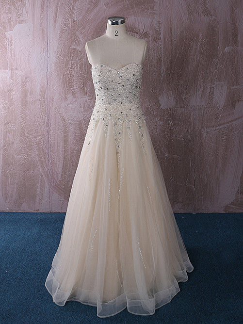 Strapless Slim A-line Champagne Wedding Dress Reception Dress | QT815009