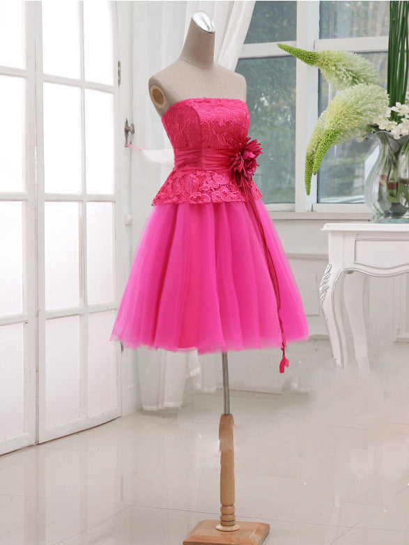 Fuchsia Pink Strapless Lace Short Bridesmaid Dress