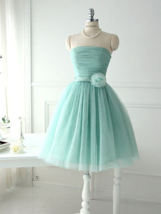 Green Strapless Short Bridesmaid Dress