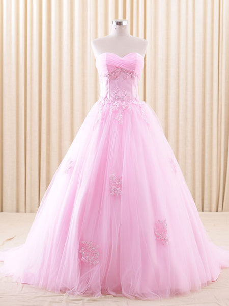 Strapless Pink Lace Ball Gown Wedding Dress | RSRS6805 Pink