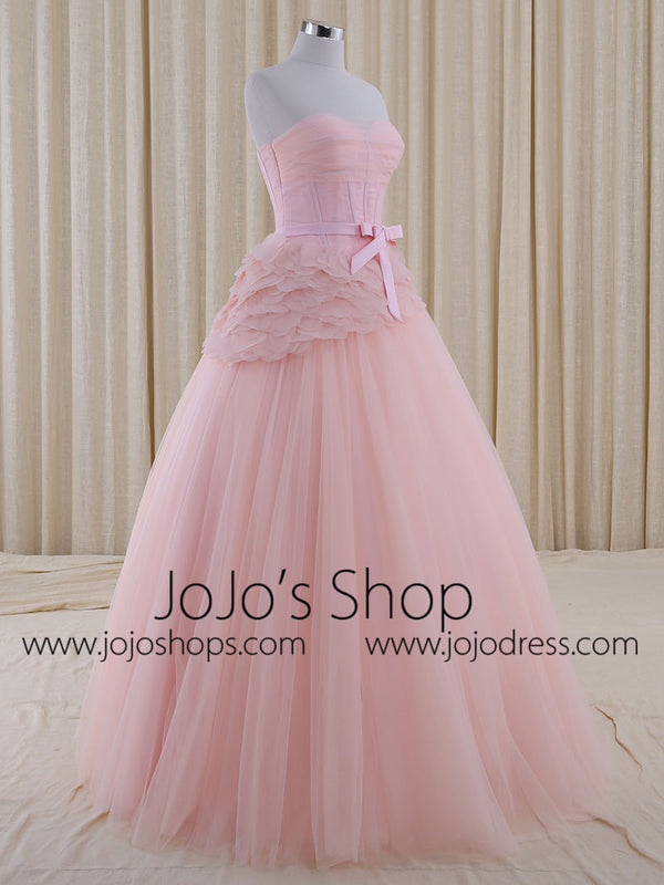 Blush Pink Ball Gown Wedding Dress | RS5001