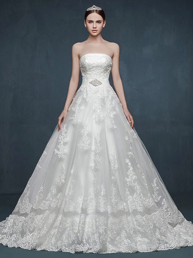 Strapless Lace Ball Gown Wedding Dress